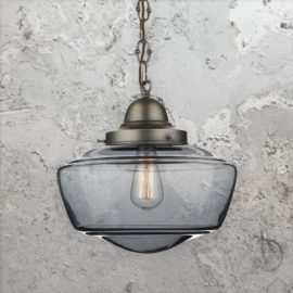 Smoked Glass Schoolhouse Pendant Light
