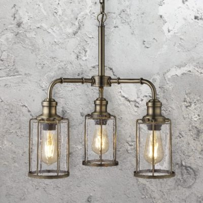 Antique Brass Seeded Glass 3 Light Pendant