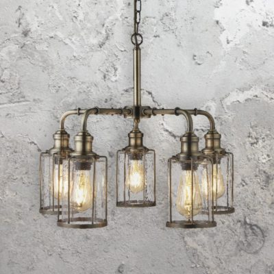 Antique Brass Seeded Glass 5 Light Pendant