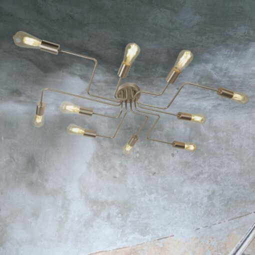 Silver 10 Light Flush Mount Spider