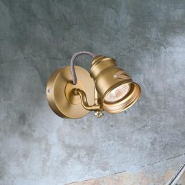 Single Brushed Brass Spotlight