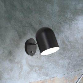 Single Matt Black Wall Light