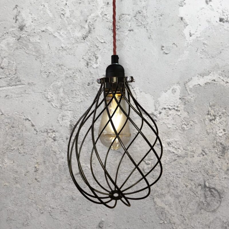 Spiral Cage Pendant Light CLB-00548-Burgandy