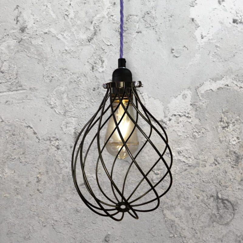 Spiral Cage Pendant Light CLB-00548 Purple
