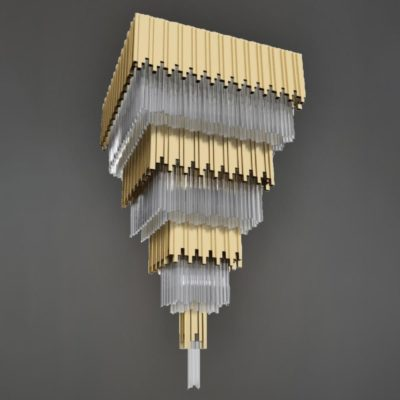 Polished Brass Square Crystal Feature Light