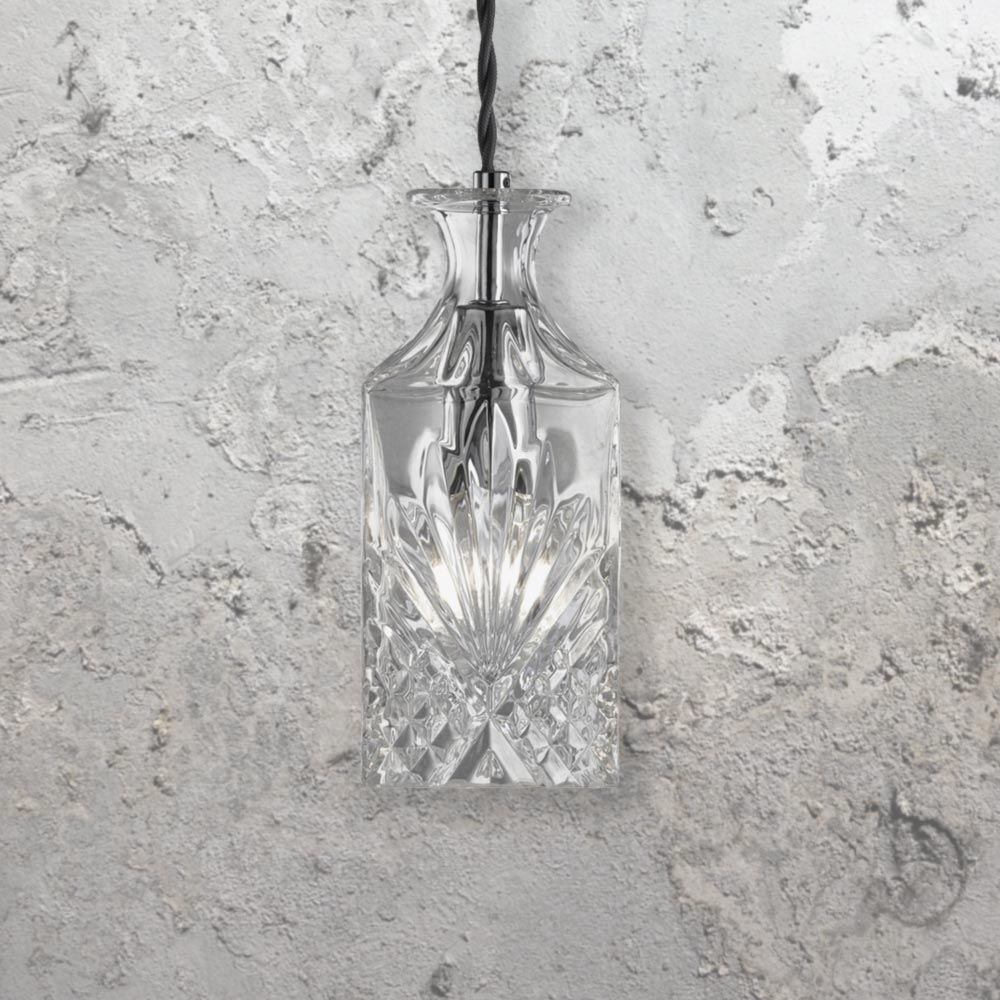 Square Glass Decanter Pendant Light