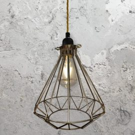 Steel Geometric Cage Pendant Light CLB-00549-Antique-Gold