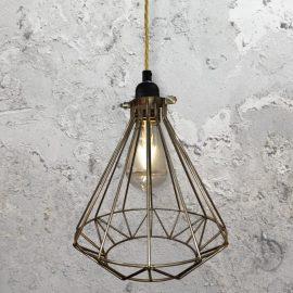 Steel Geometric Cage Pendant Light CLB-00549-Brass-Twisted
