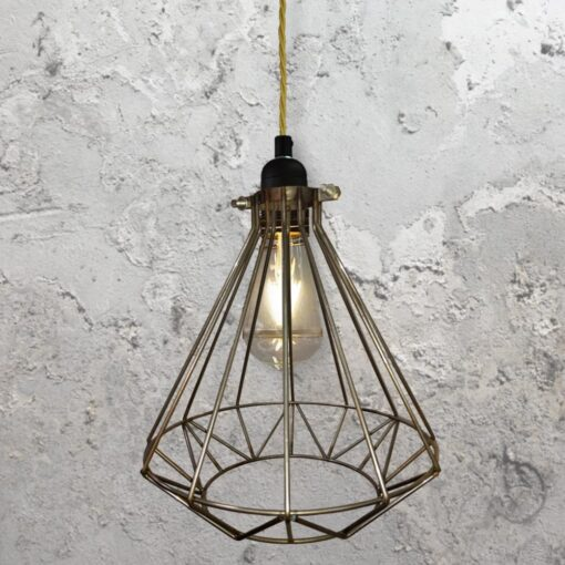 Steel Geometric Cage Pendant Light CLB-00549-Brass-Twisted