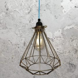 Steel Geometric Cage Pendant Light CLB-00549-Light-Blue