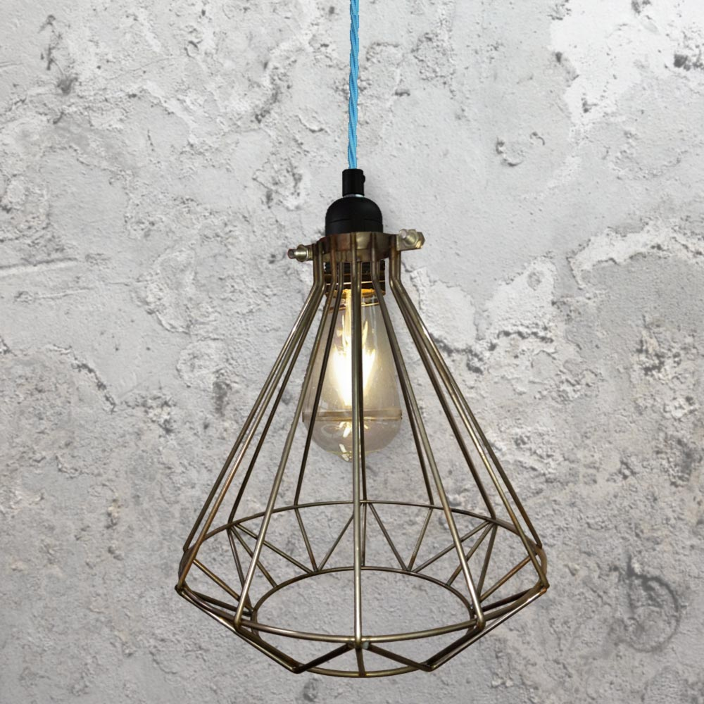 Steel Geometric Cage Pendant Light CLB 00549 Blue
