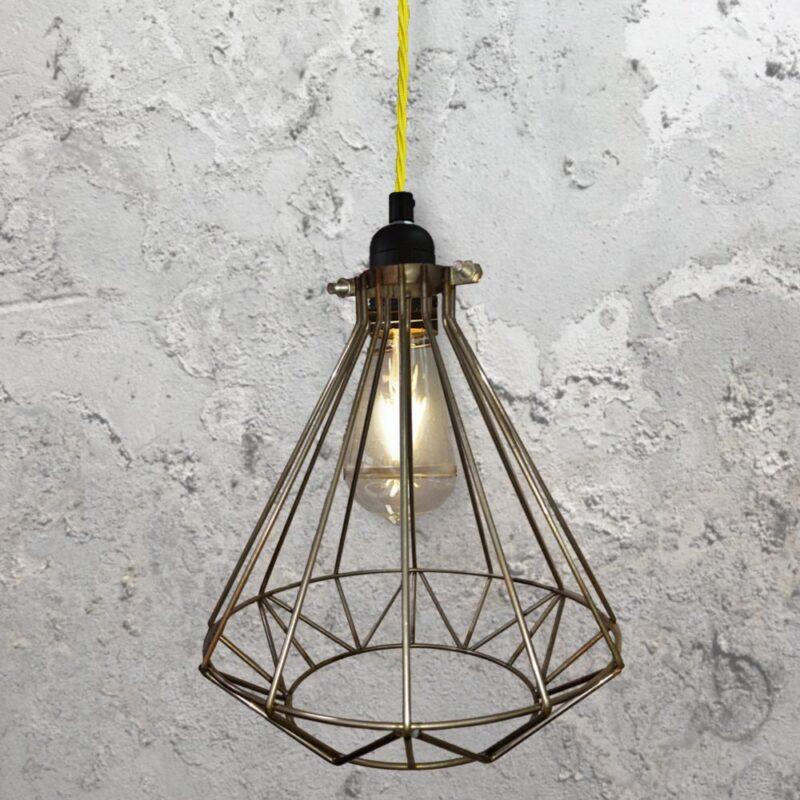 Steel Geometric Cage Pendant Light CLB-00549-Yellow