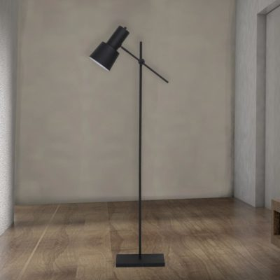 Tall Adjustable Black Industrial Floor Lamp