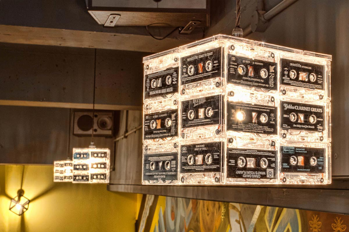 The Hive, Manchester Cassette Pendant Lights