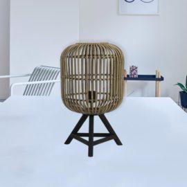Tripod Rattan Table Lamp