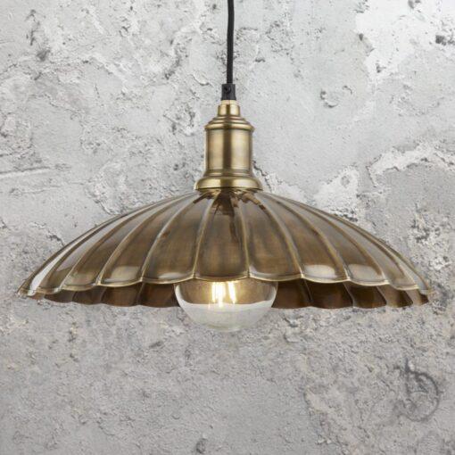 Antique Brass Umbrella Pendant Light