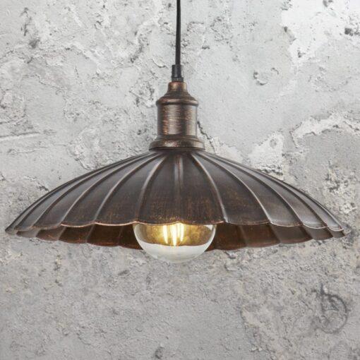 Rustic Bronze Umbrella Pendant Light