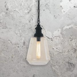 1 Light Geometric Vintage Amber Glass Pendant Light