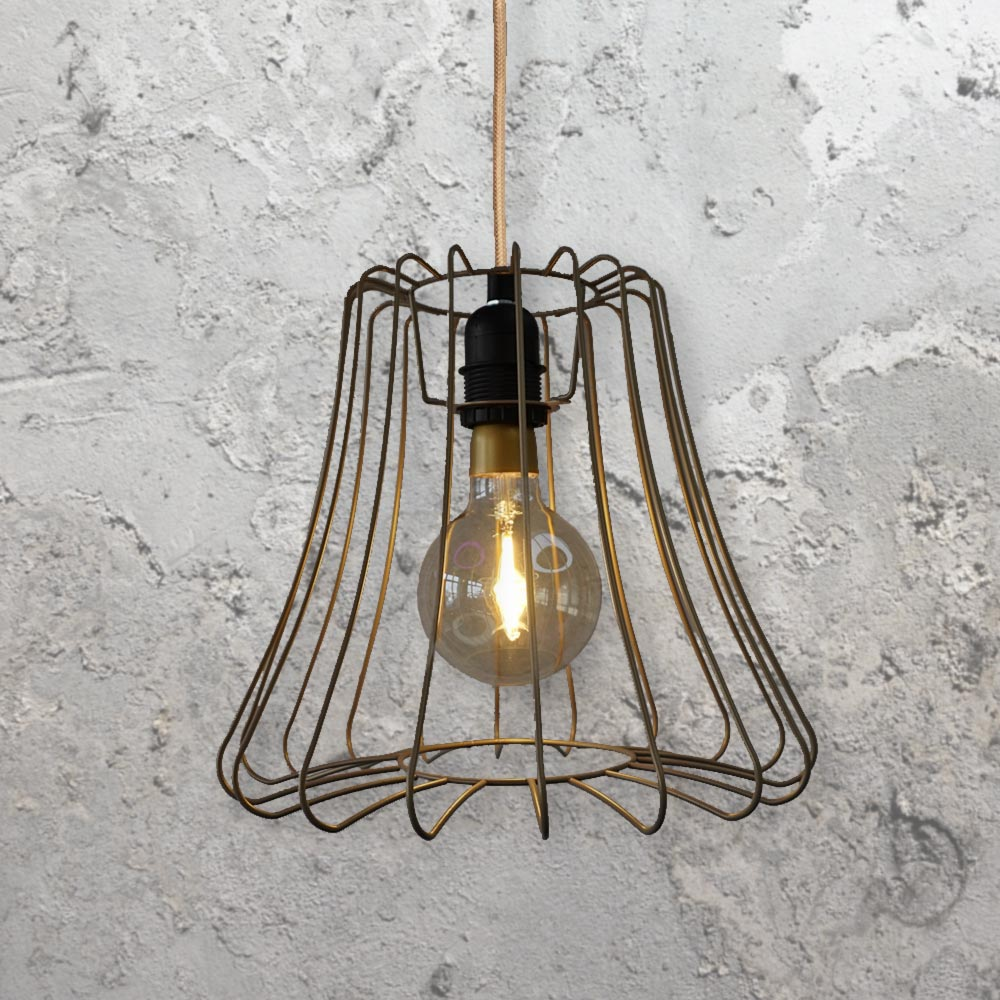 Vintage Cage Light Fitting Copper Clb 00523 E2 Contract