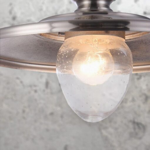 Vintage Glass Metal Pendant Light, clear bubble glass pendant light housed in a industrial nickel metal spun lampshade
