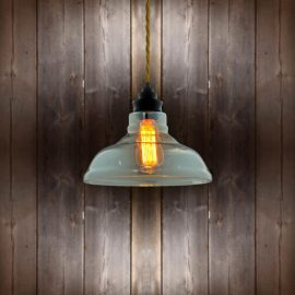 Vintage Glass Pendant Light - Antique Gold Twisted Braided