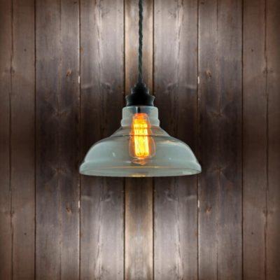 Vintage Glass Pendant Light Black Twisted Braided