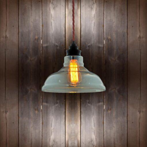 Vintage Glass Pendant Light Burgandy Twisted Braided