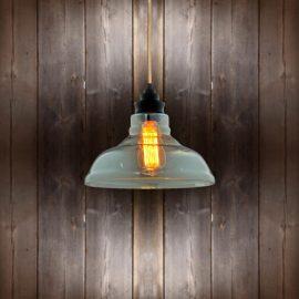Vintage Glass Pendant Light - Copper Round