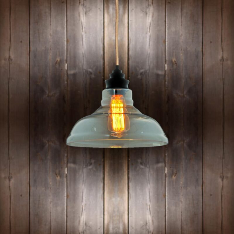 Vintage Glass Pendant Light - Copper Round