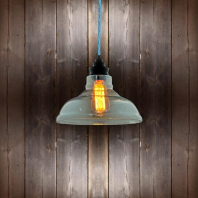 Vintage Glass Pendant Light Light Blue Twisted Braided