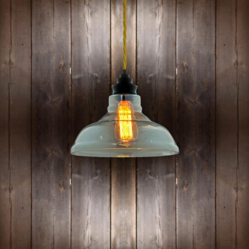 Vintage Glass Pendant Light Light Gold Twisted Braided