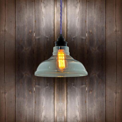 Vintage Glass Pendant Light - Purple Twisted Braided
