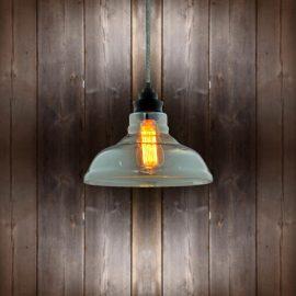 Vintage Glass Pendant Light Round Tweed