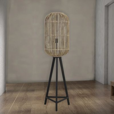 Large Natural Rattan Floor Lamp
