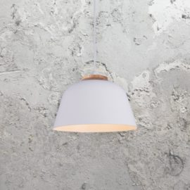 White Minimal Wood Pendant Light