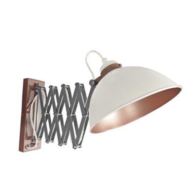 White Scissor Arm Wall Light Bronze Inner
