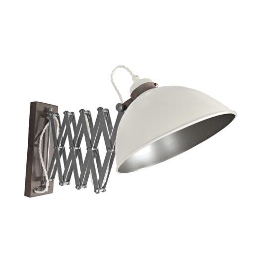 White Scissor Arm Wall Light Gunmetal Inner