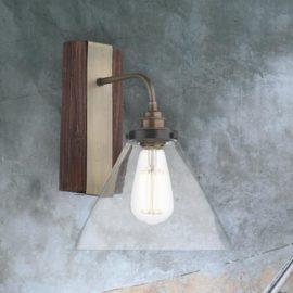 Wood Clear Glass Wall Light