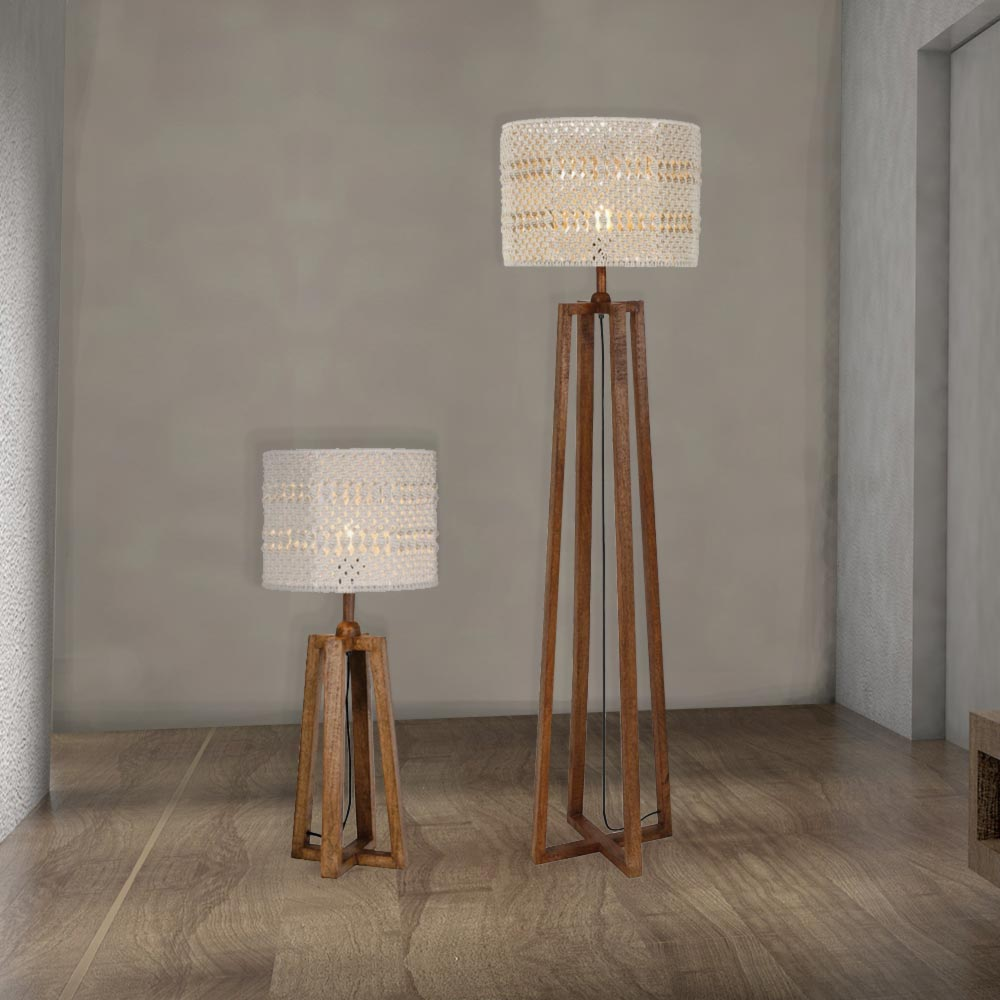 Wooden Floor And Table Lamp Set CL-34037