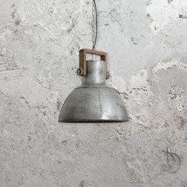 Wooden Industrial Silver Pendant Light