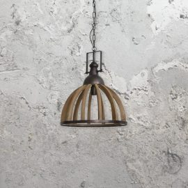 Wooden Metal Cage Pendant Light