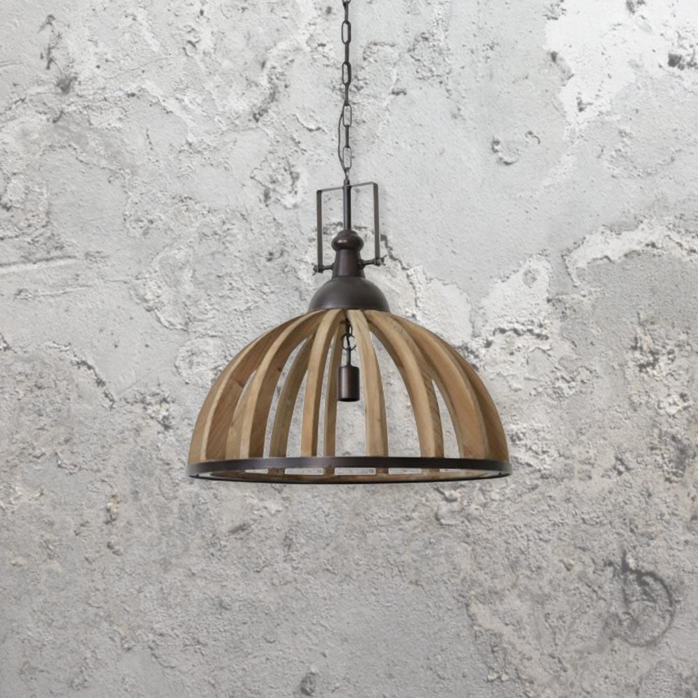Wooden metal cage pendant light cl 34544 e2 contract lighting uk wooden metal cage pendant light mozeypictures Choice Image