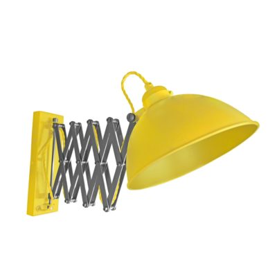 Yellow Scissor Arm Wall Light