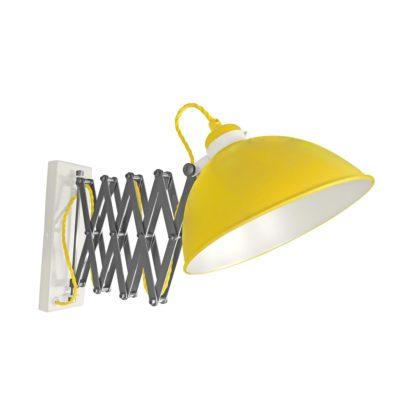 Yellow Scissor Arm Wall Light White Inner